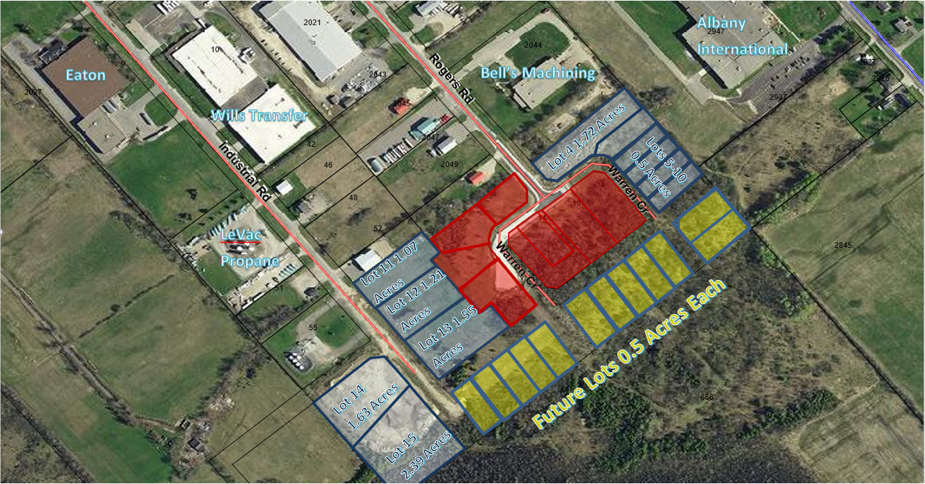 A map of available industrial land in the Town of Perth for sale