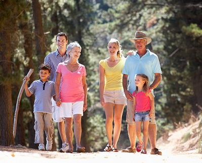 Multi-generational family walking together