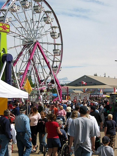 Fairgrounds with large ferris wheel and crowd of people walking
