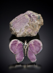 Mica and apatite purple butterfly