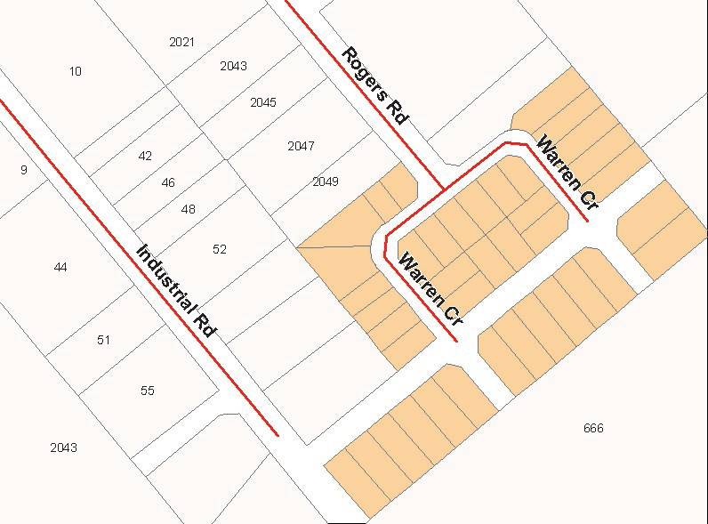 Map showing numbered industrial park lots