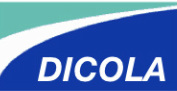 Blue and white Dicola logo