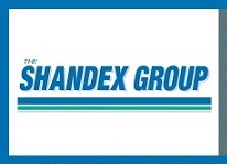 Blue and white Shandex Group logo