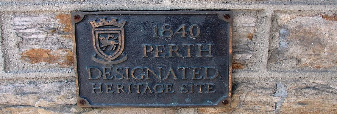 Plaque that says 1840 Designated Perth Heritage Site