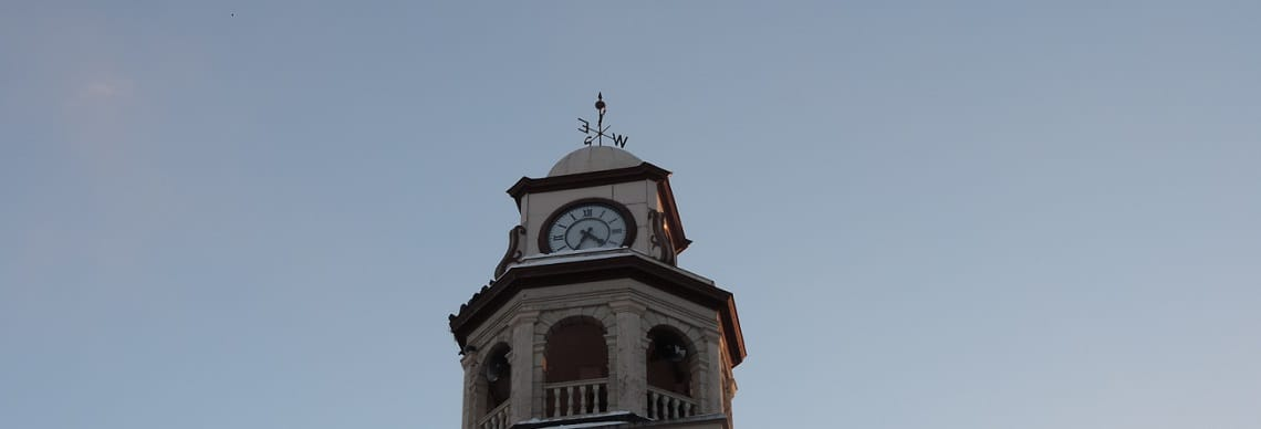 Clock tower set against skyline