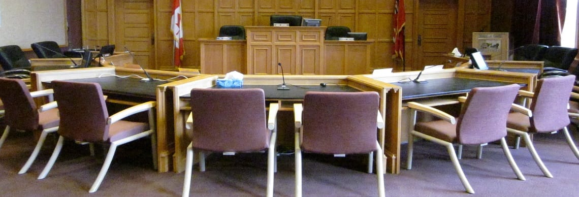 Chairs and podium in room where Council meets